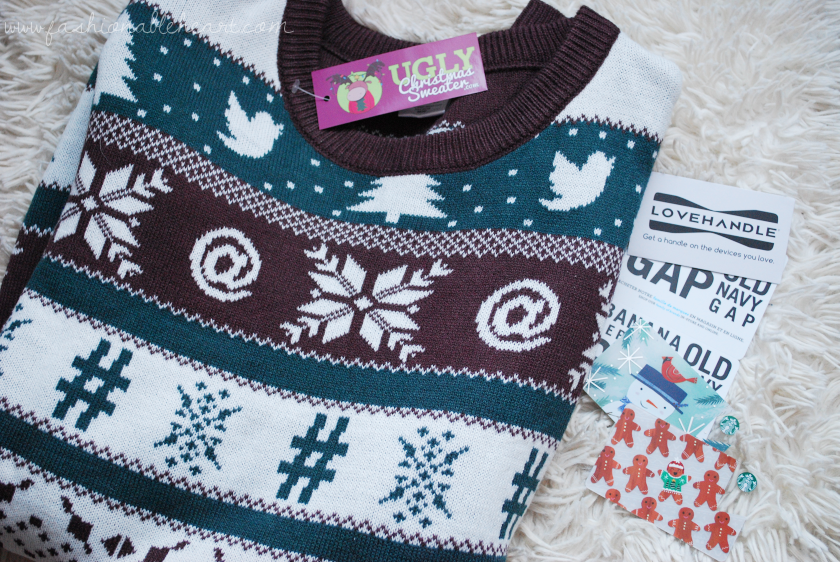 bbloggers, bbloggersca, canadian beauty bloggers, beauty blog, lbloggers, what i got for christmas, gifts, holiday, 2017, ugly christmas sweater, uglychristmassweater.com, twitter, social media, gift cards, starbucks, lovehandle, phone grip