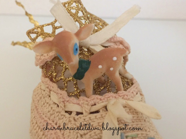 Vintage crocheted baby booties reindeer