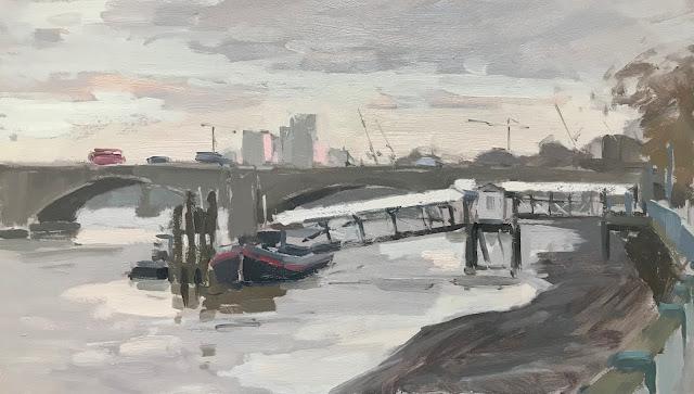 #266 'Putney Pier, London' 8×14″