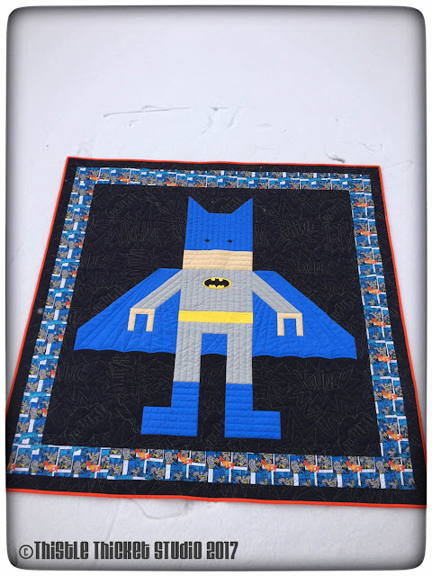 Thistle Thicket Studio, Lego Batman quilt, super hero quilt, Batman