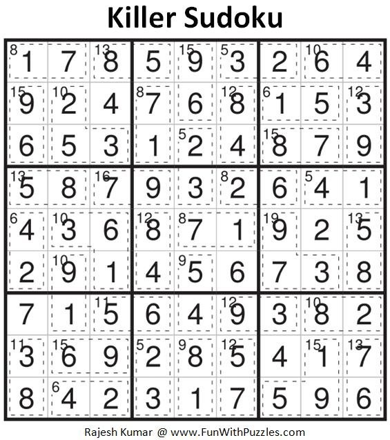 Killer Sudoku Puzzle (Fun With Sudoku #376)-Fun With Puzzles