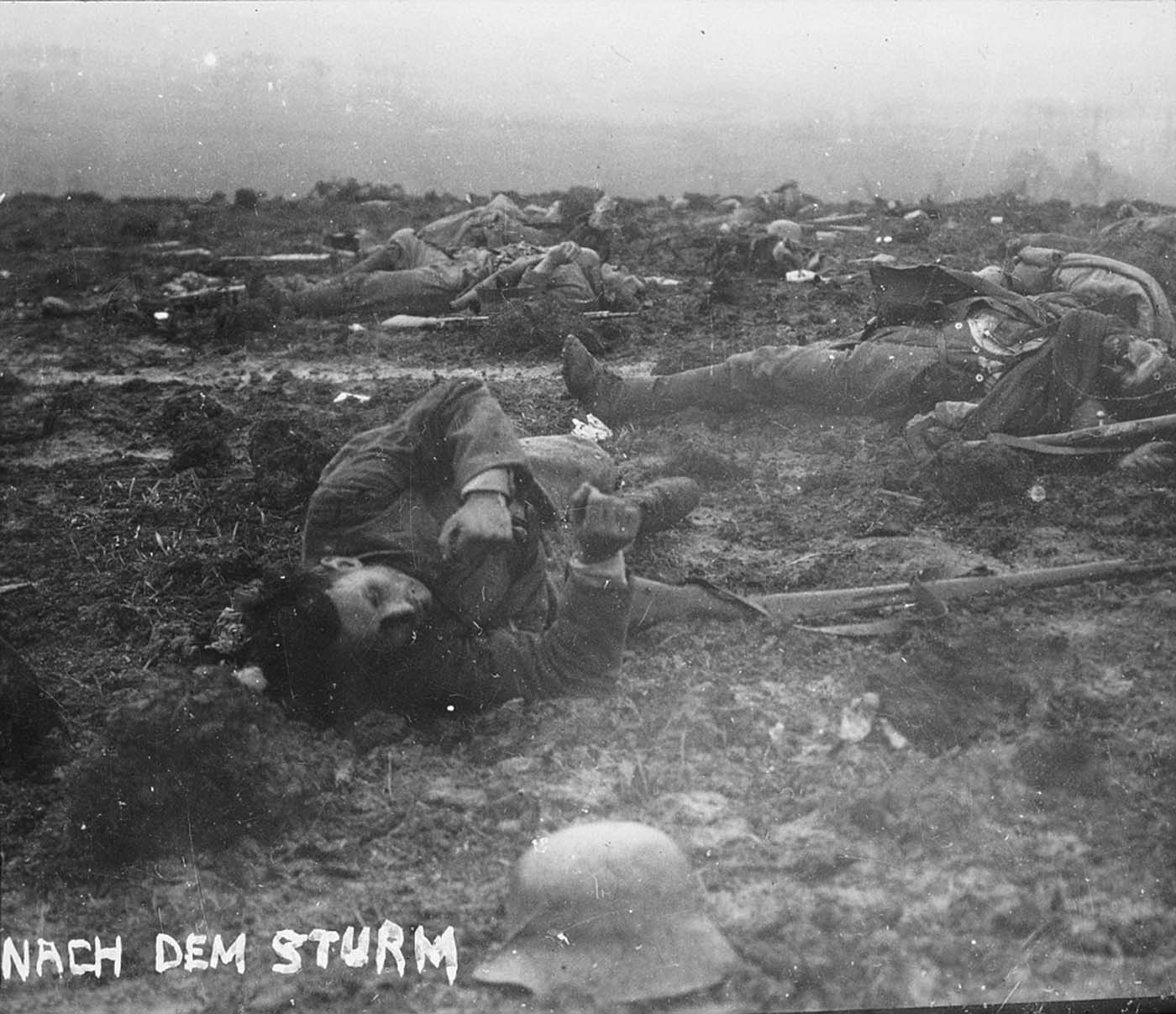 El álbum de Walter Kleinfeldt muestra las consecuencias de una escaramuza durante la Batalla de Somme, 1916.