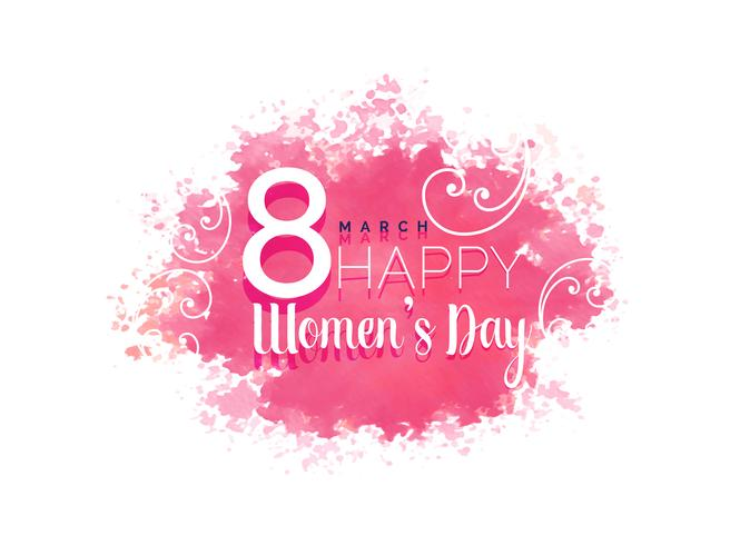 Women's Day Water Color Background With Floral free vector