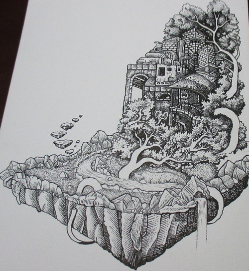 05-House-in-the-Hills-Muthahari-Insani-Beautifully-Detailed-Ink-Drawings-and-Doodles-www-designstack-co