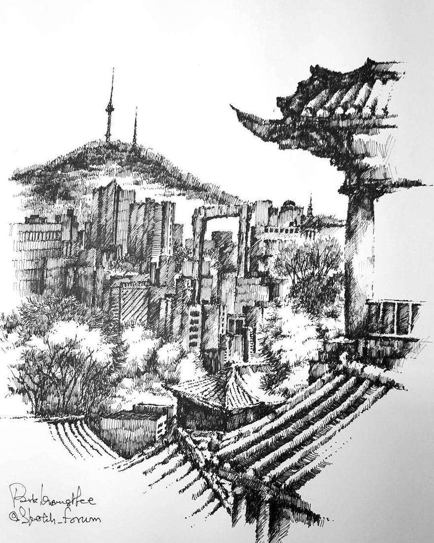 08-Park-Kwang-Hee-Architectural-Sketches-Interior-Exterior-Old-and-New-www-designstack-co