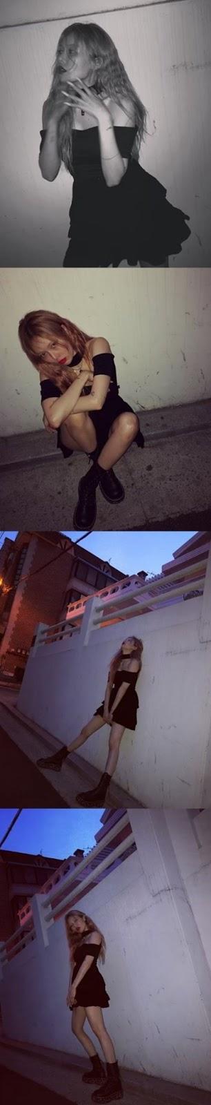 Hyuna yeni Instagram güncellemeleri için sokakta poz verdi