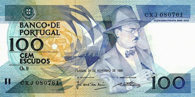 Portugal Banknotes 100 Escudos banknote 1988 Portuguese poet and writer Fernando Pessoa