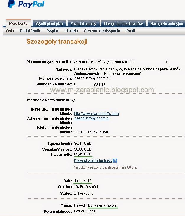 DonkeyMail.com - Dowód wypłaty