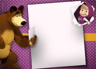 Para hacer invitaciones, tarjetas, marcos de fotos o etiquetas, para imprimir gratis de Masha y el Oso.
