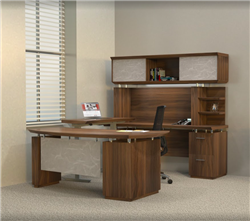 Mayline Sterling Executive Desk with Height Adjustable Bridge