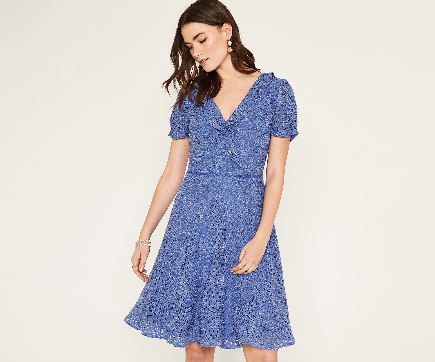 Oasis Mid Blue Long Lace Tea Dress - UK style blog