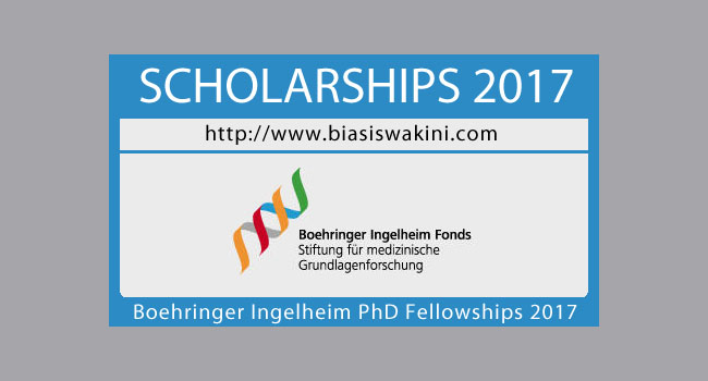 Boehringer Ingelheim PhD Fellowships 2017