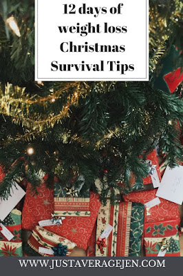 Picture of presents under a tree with the words 12 days of weight loss Christmas Survival Tips