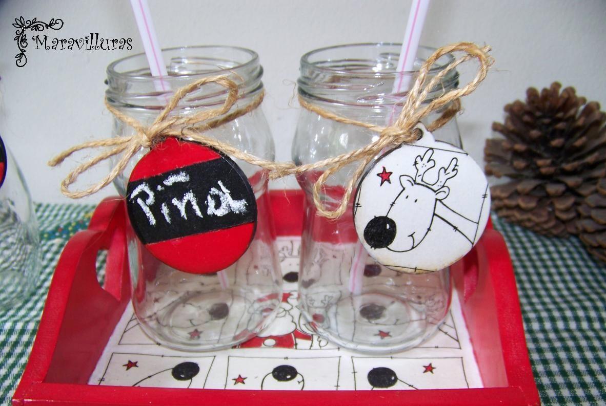Maravilluras bandeja y frascos decorados para una for Frascos decorados para navidad