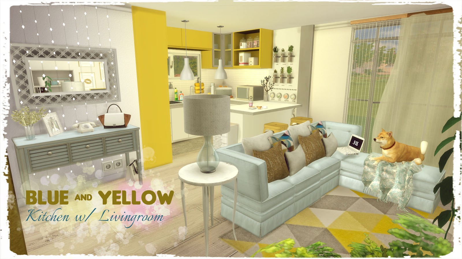 Sims 4 blue yellow kitchen with livingroom dinha for 3 star living room chair sims
