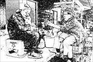 gambar lukisan seorang nenek membelai kucing sambil berbual