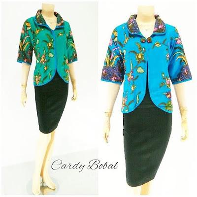 Batik Blouse Cardi Bobal biru