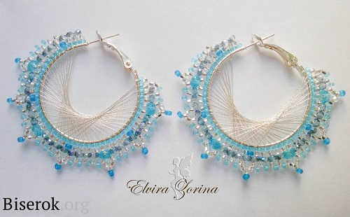 Beaded Hoop Earrings With String Art Effect Tutorial