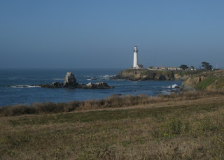 Pigeon Point Lighthouse, viewed from Highway 1 near Pescadero, California