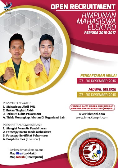OPEN RECRUITMENT HIMPUNAN MAHASISWA ELEKTRO PNL 2016