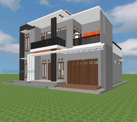 Desain Rumah 2 Lantai 13 m x 11 m