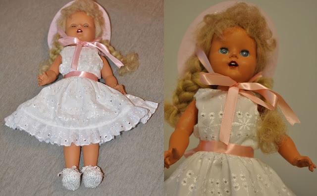 boneca Marta consertada com novo vestido e sapatos