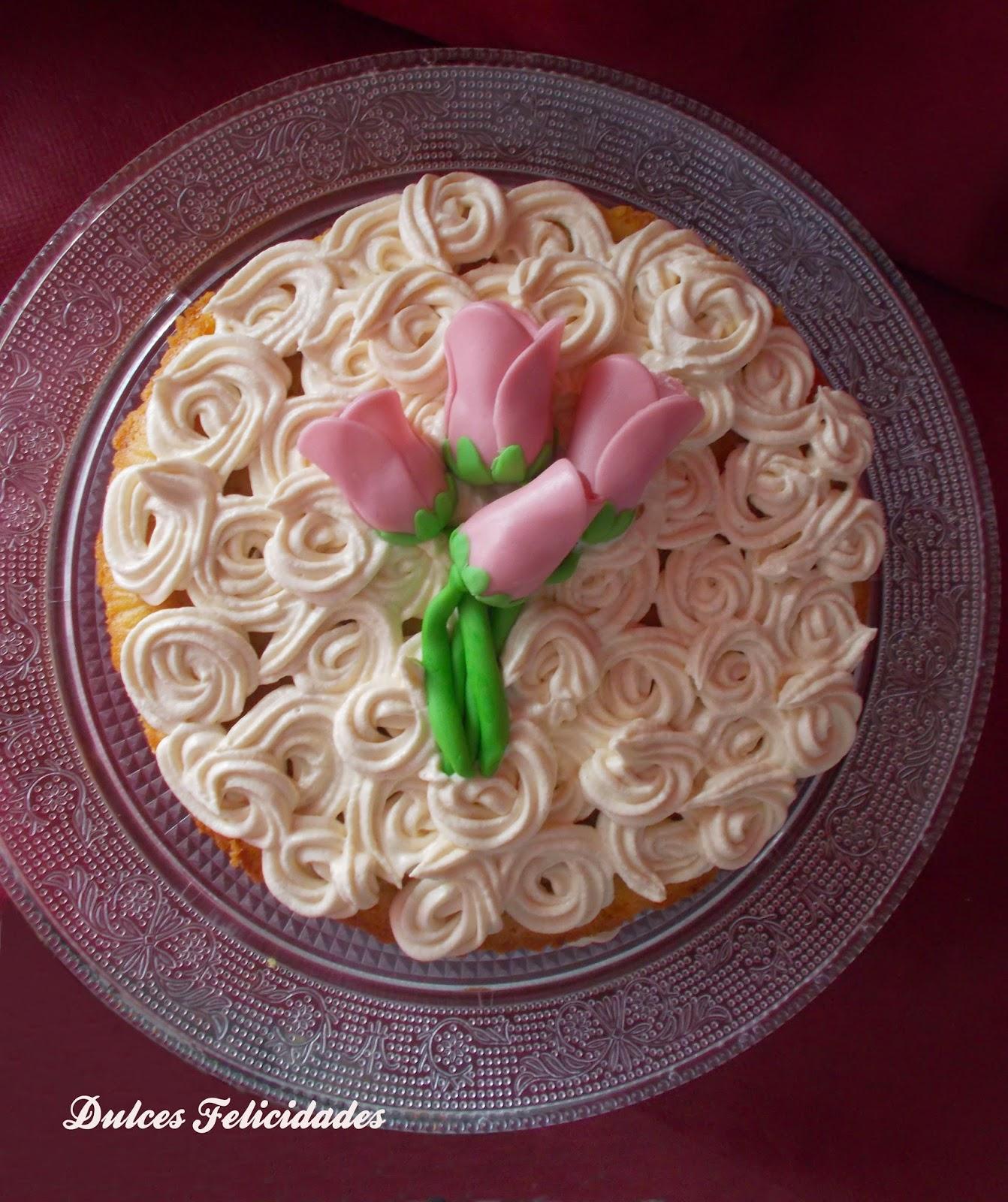 Tarta con tulipanes