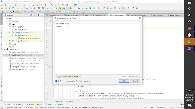 Android studio Test device not found.