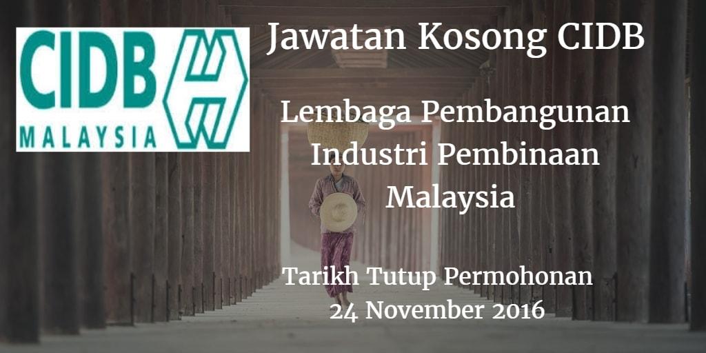 Jawatan Kosong CIDB 24 November 2016