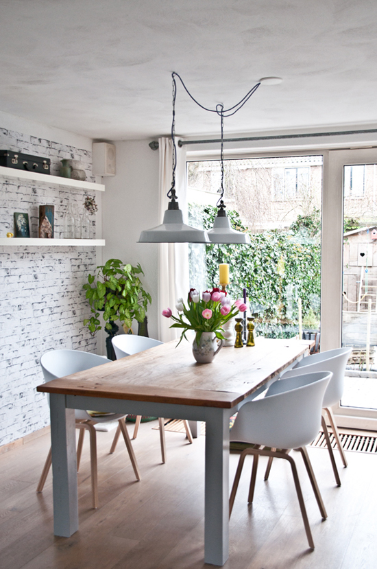 Two Pendant Lights Over The Dining Table Image Via Dig And Mig