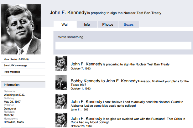 Fake Facebook Pages for Historical Figures