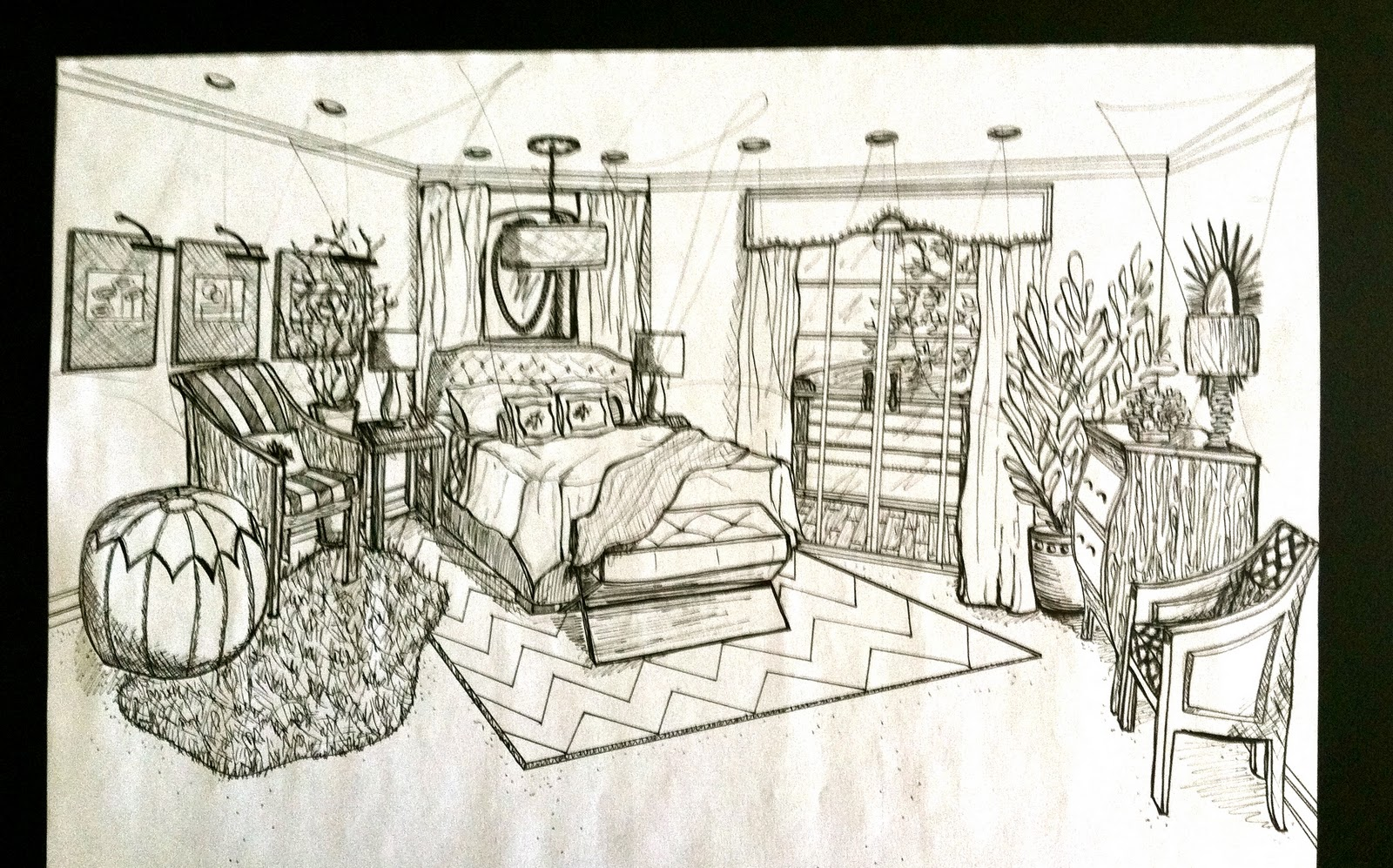 Brandalyn Designs Perspective Drawing Master Bedroom