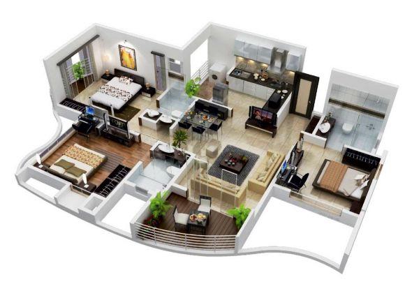 ツ 25 Desain 3d Rumah Minimalis 1 Lantai 3 Kamar Tidur Modern Sederhana
