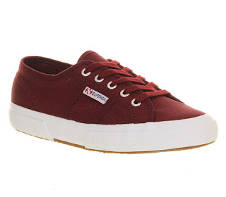 Price drops Superga 2750 DARK BORDEAUX WHITE Trainers Shoes UK 9.5 – £23.00