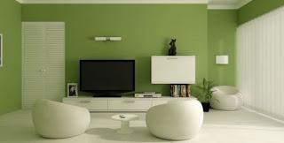 Sala decorada con verde