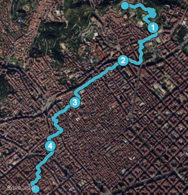 recorrido de regreso de 4,8 km