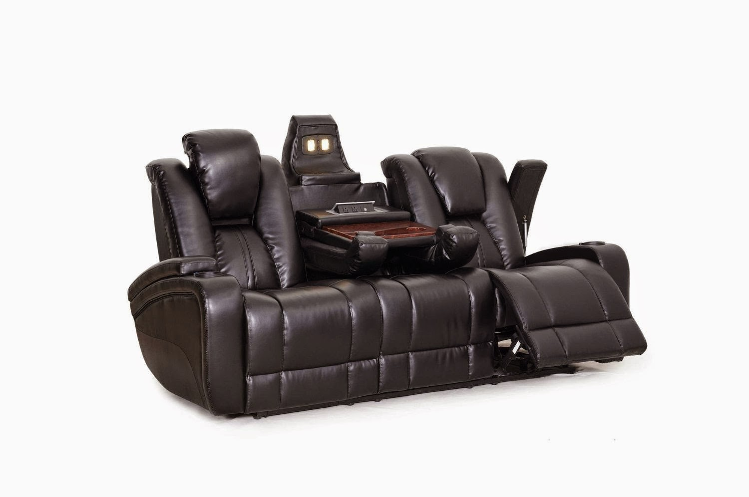 SeatCraft Black Leather Sofa Reclining Sectional