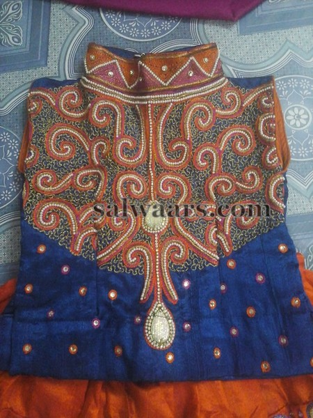 Orange Thread Work Lehenga