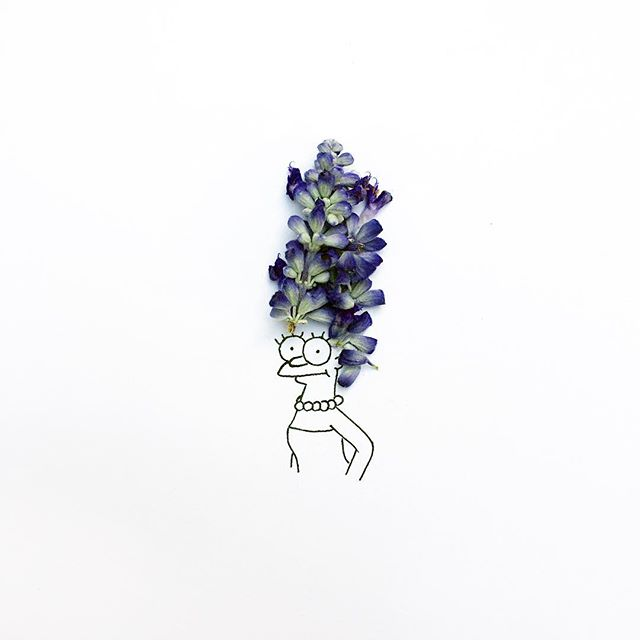 gambar sketsa pulpen yang di gabungkan dengan benda alami yang keren unik dan menarik-1