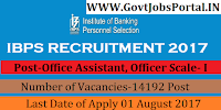Institute of Banking Personnel Selection Recruitment 2017-14192 Office Assistant, Officer Scale- I, Officer Scale- II