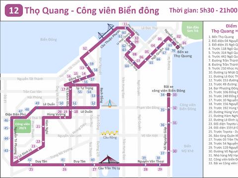 Lộ trình tuyến xe buýt số 12: Thọ Quang - Công viên Biển Đông