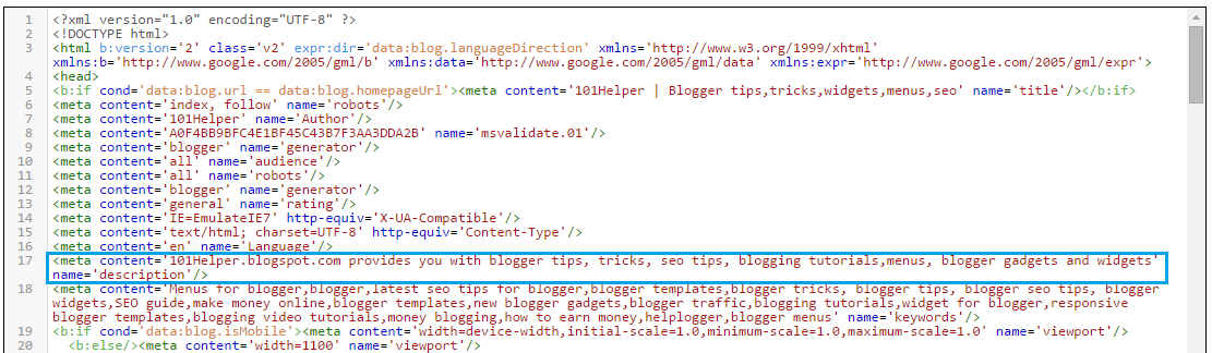 Meta description | 101helper