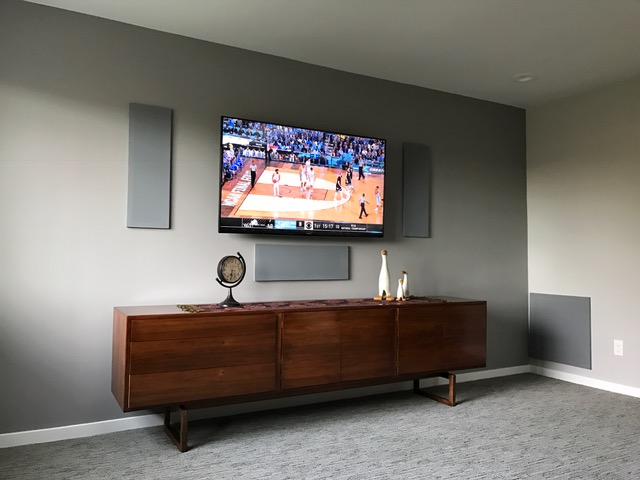Home Theater Media Room With Custom Made Speaker Grills Functional And Elegant