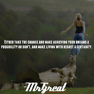 Either take the chance and make achieving your dreams a possibility or don't, and make living with regret a certainty.
