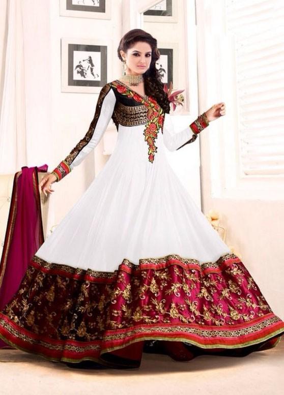 #White & Pink Georgette #SalwarKameez For #Navratri Moksha Fashions