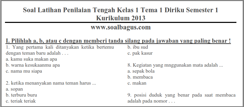 Soal Pts Tematik Kelas 1 Tema 1 Semester 1 Ganjil Kurikulum 2013 Soalbagus Com