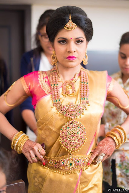 Bride in Ruby Temple Jewellery