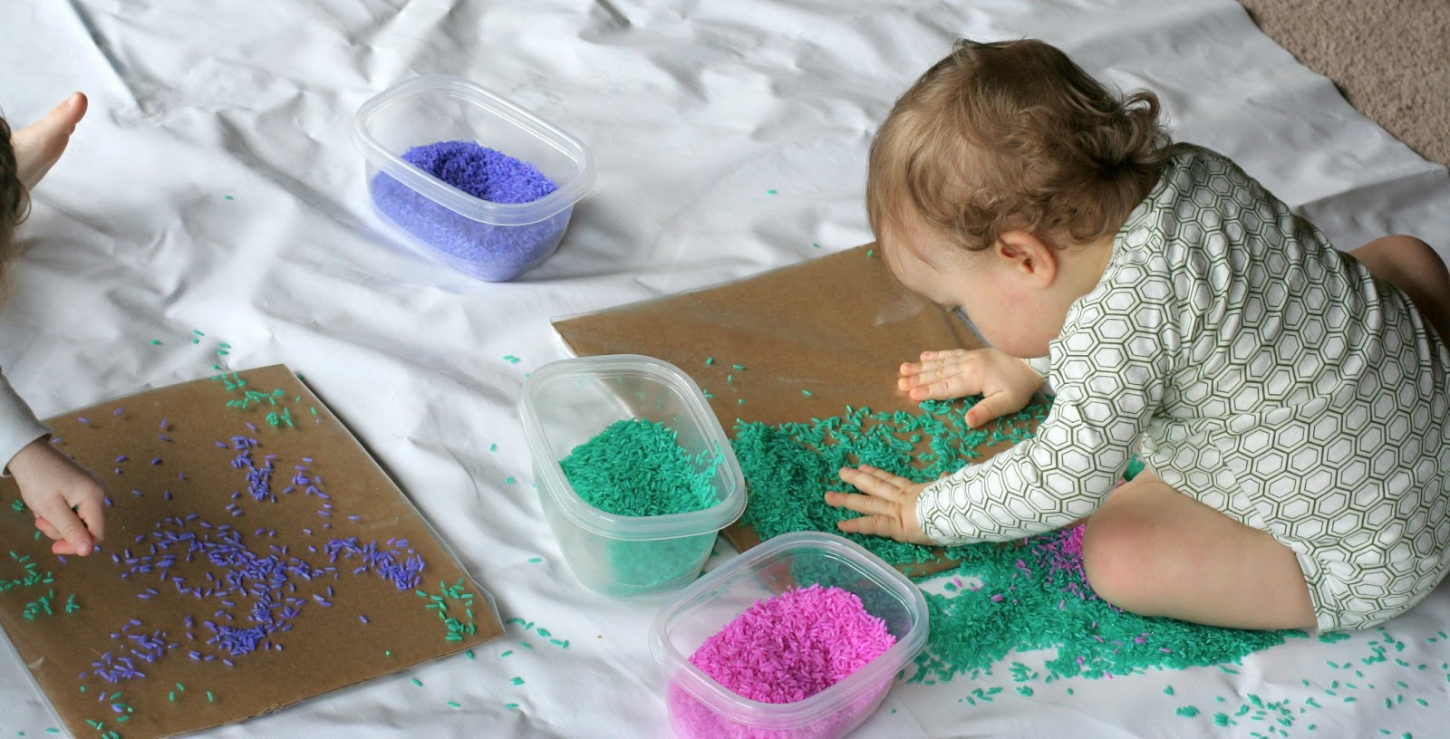 Baby toddler colored rice art Fun painting ideas for toddlers