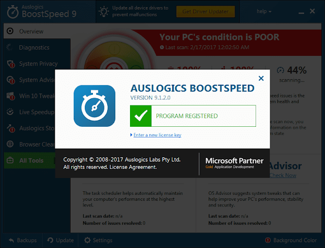 Auslogics BoostSpeed 9.1.2.0 Serial Key