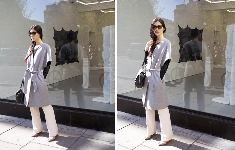 Euriental | fashion & luxury travel | grey short sleeve wool coat, Fendi bag, L.K. Bennett top, Diesel sunglasses.